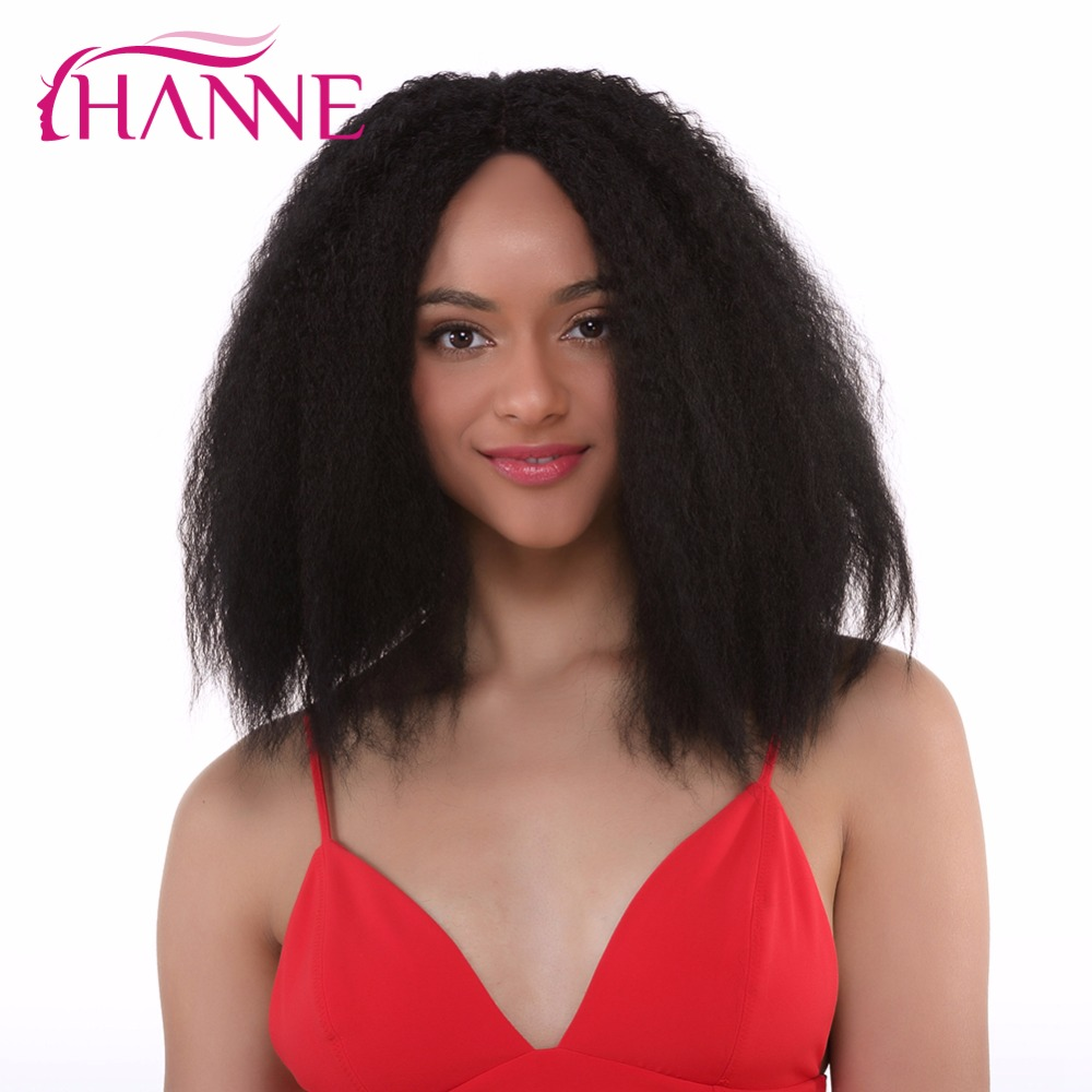 Hanne Kinky Straight Hair Weave Synthetic Medium Wigs For Black
