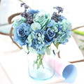 High quality 1 Bouquet silk flowers artificial fake flower blue rose wedding party home decoration flower craft FH274