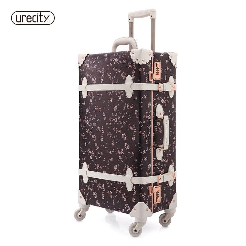 2018 NEW spinner 4 wheel suitcase trolley luggage 3D print original design retro elegant 24 inch sample floral free shipping elegant floral print waisted zipper design midi dress