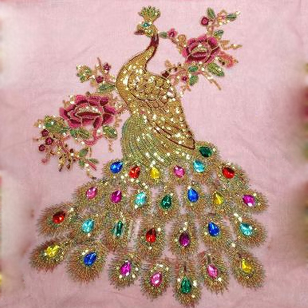 Hot sale rhinestone peacock decoration applique evening for Applique decoration