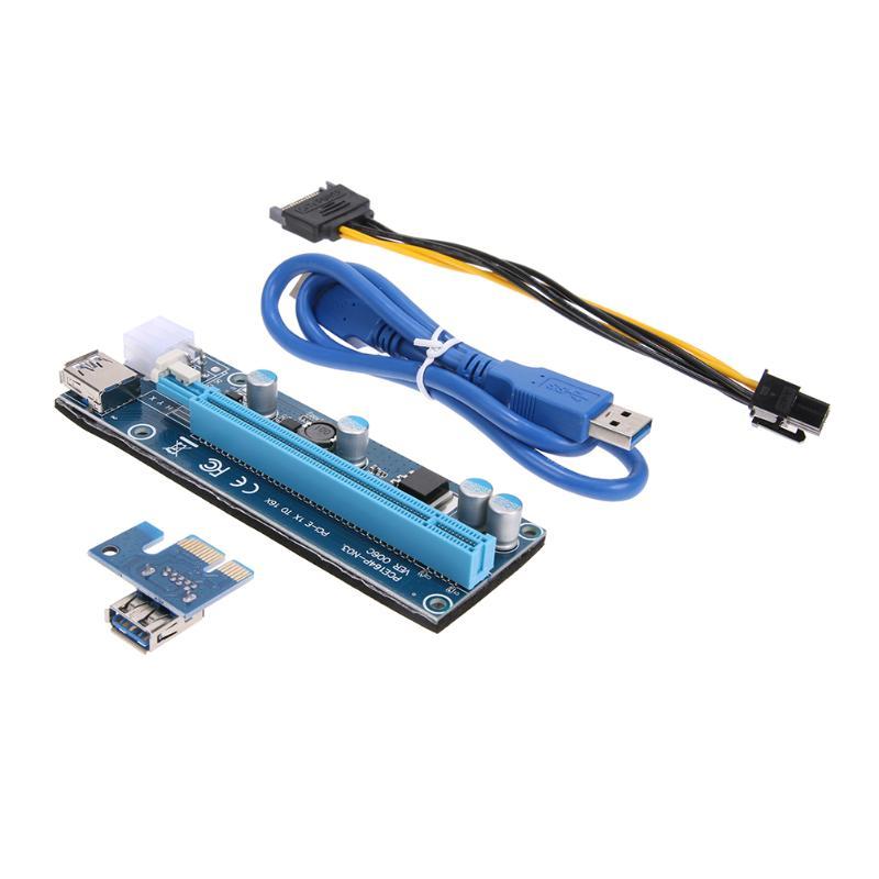 Riser PCI-E PCI Express 60 cm USB 3.0 1x a 16x Mining macchina Extender Riser Card Scheda Adattatore con Pin a Pin di Alimentazione cavo
