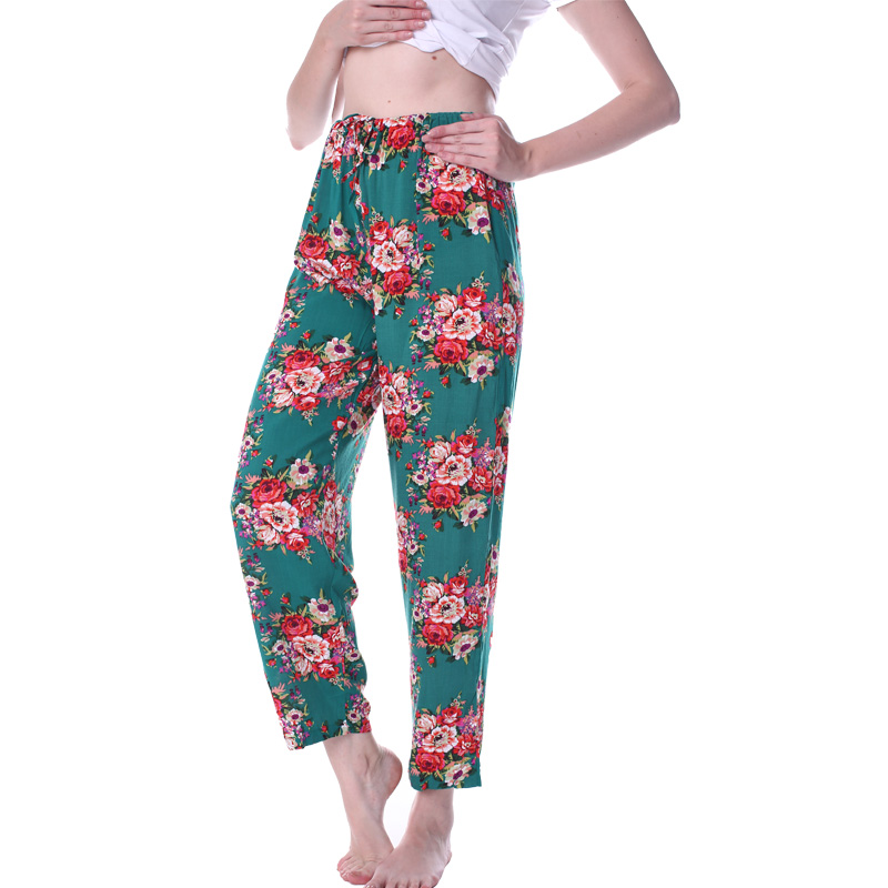 Long Pants For Women Sleepwear Bathrobe Bride Bridesmaid Pant Cotton Flower Pajamas Homewear Lady Fashion Printed Nightgowns Set