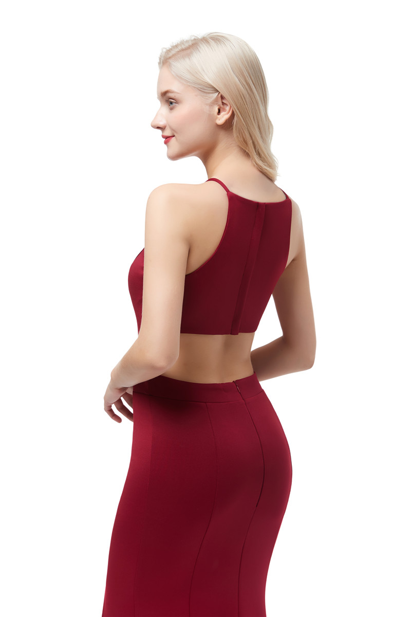 Купить с кэшбэком Beauty Emily Wine Red Sexy Satin Mermaid Evening Dresses 2020 Long for Women Formal Evening Gowns Party Prom  Party Dresses