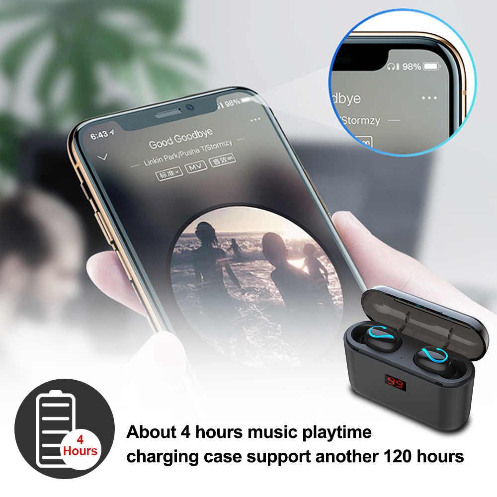 Auriculares TWS Bluetooth 5,0, auriculares inalámbricos Bluetooth, auriculares manos libres, Auriculares deportivos para videojuegos, auriculares para teléfono y HBQ-Q32