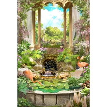 Laeacco Spring Pavilion Arch Pillars Flowers Flamingo Scenic Baby Photography Background Customized Backdrops For Photo Studio