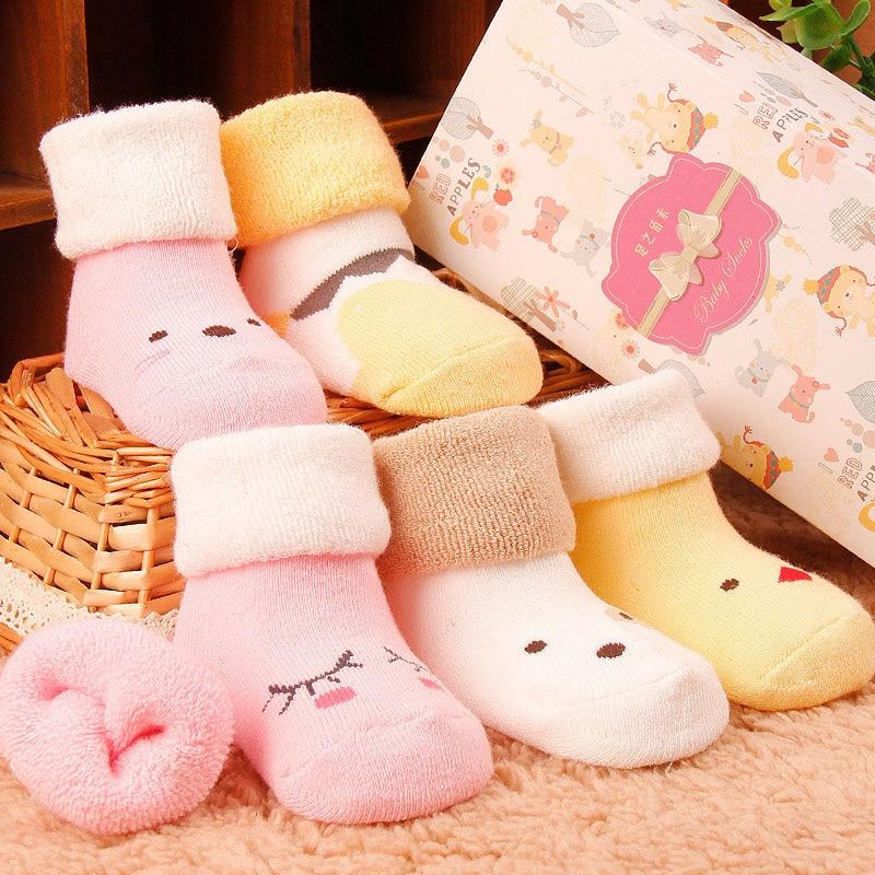 Ideacherry Winter Warm Baby Socks Anti Slip Sock Newborn New 0-3 Years Old Children Socks Baby Cotton Cartoon Boy Girl Sock
