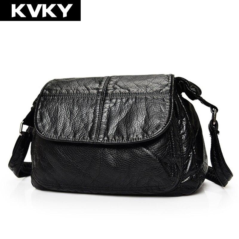 KVKY Brand Fashion Soft Pu Leather Messenger Bag Patchwork Women Handbags Casual Ladies Crossbody Shoulder Bag Tote bolsas