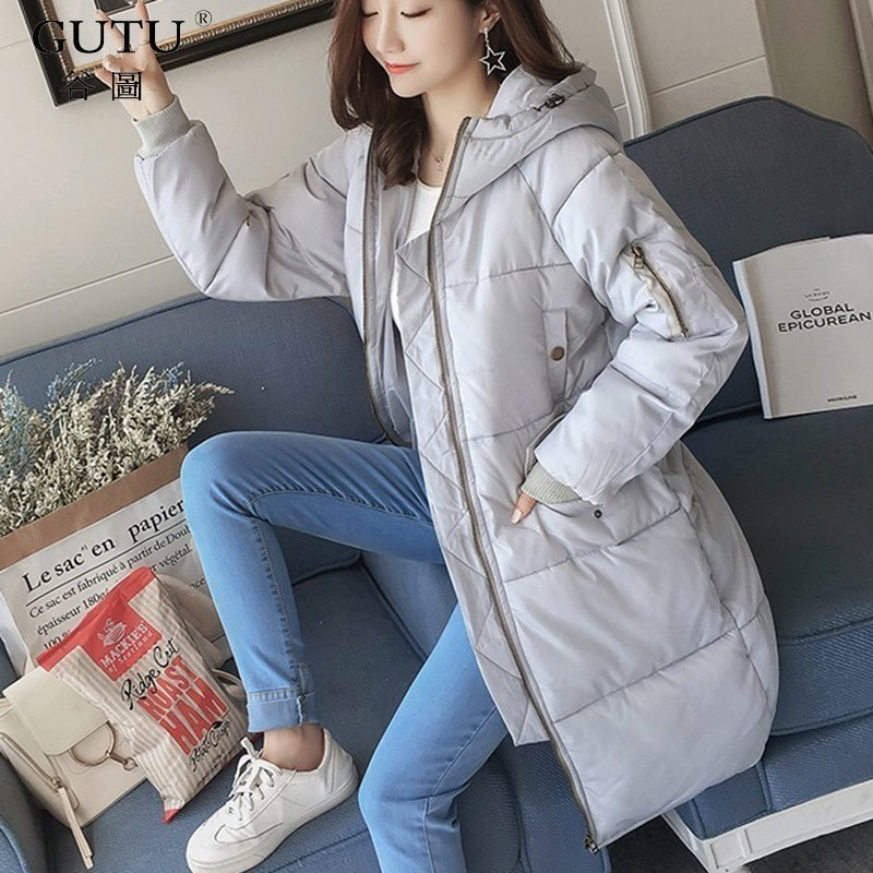 [GUTU] 2017 Autumn And Winter New Korean Solid Color Long Sleeves Hooded Collar Zipper Wide-waisted Thicker Coat Woman E102102 new arrival autumn and winter 2017 outdoor softshell long sleeves solid color zipper pocket sports windbreaker men 150