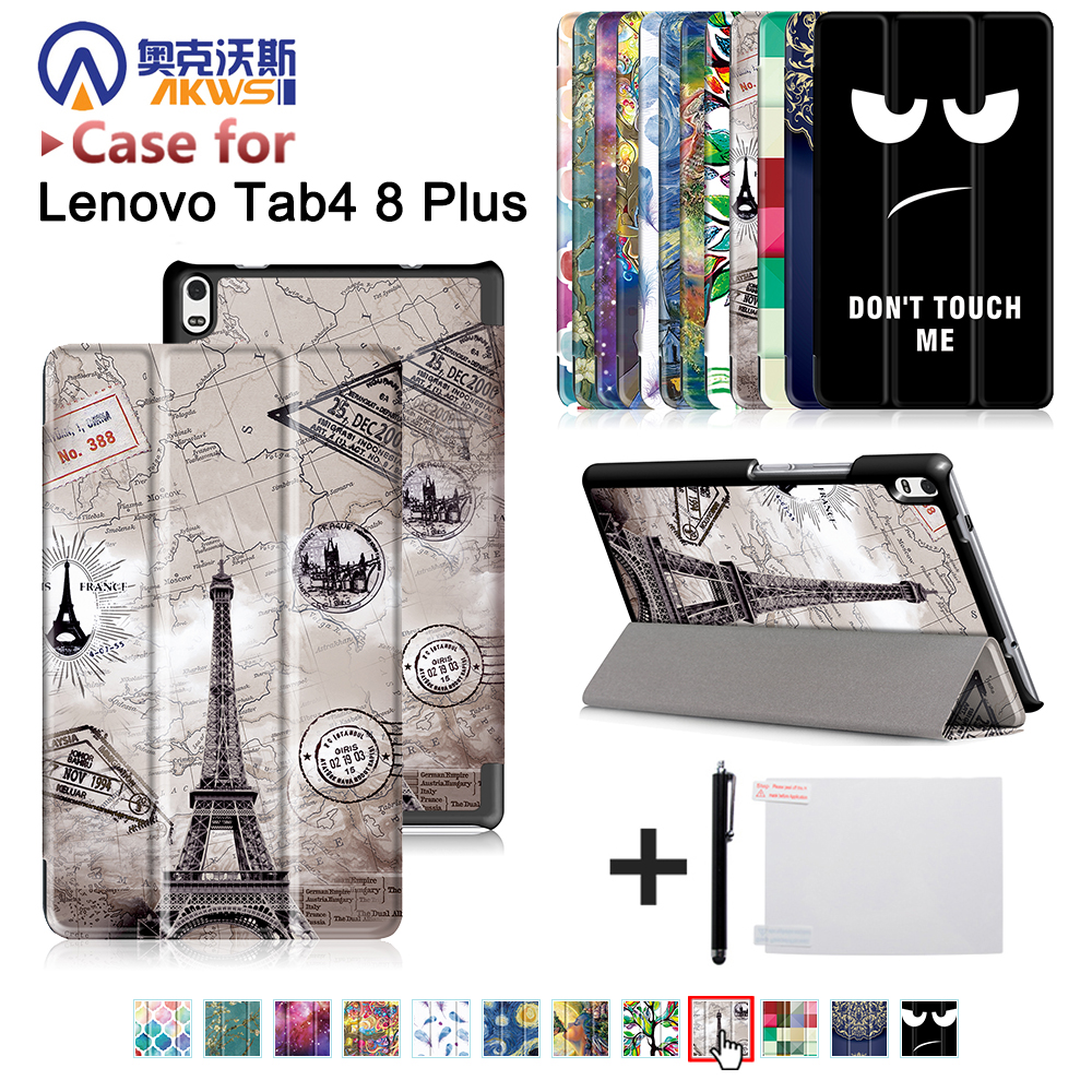 Folio cover case for Lenovo TAB 4 8 Plus TB-8704N/TB-8704F (2017 new release) printed ultra slim magnetic cover case+gift folio cover