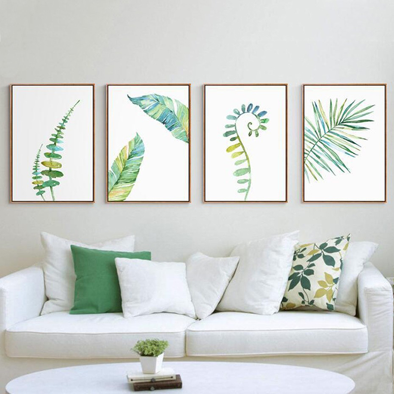 Watercolor Leaves Canvas Wall Art Painting Green Style Plant Nordic Posters and Prints Decorative Picture Modern Home Decoration in Painting Calligraphy from Home Garden