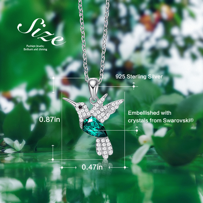Image 4 - Cdyle Hummingbird Jewellery 925 Sterling Silver Link Chain Necklace Embellished with crystal Women Pendant-in Pendant Necklaces from Jewelry & Accessories
