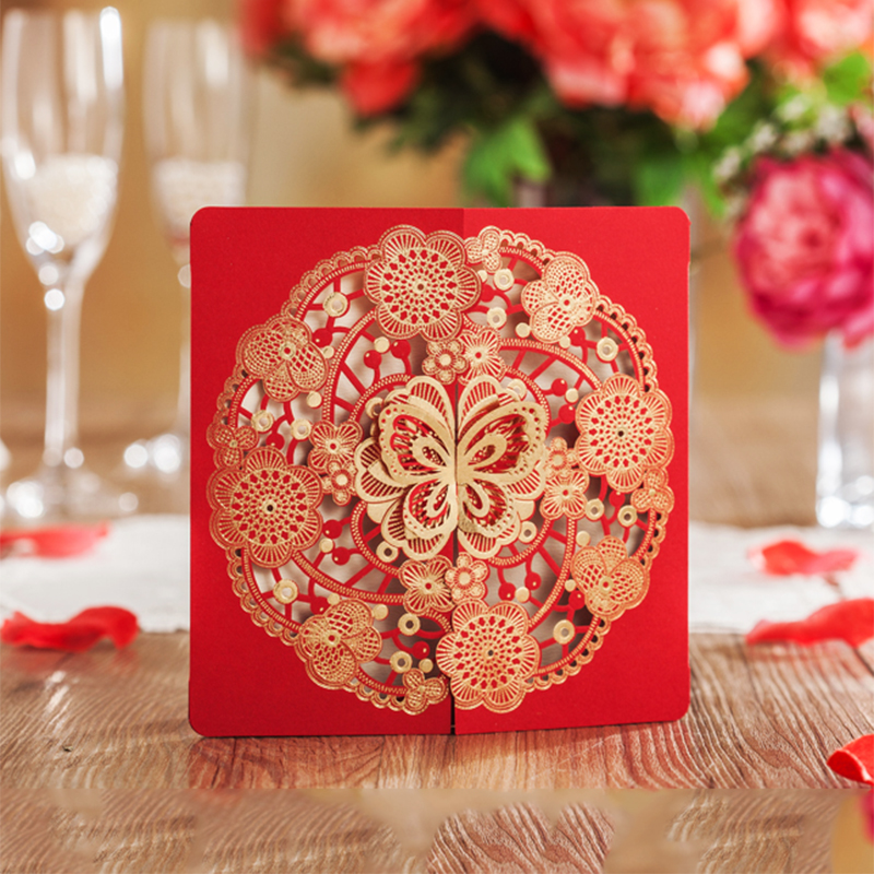 Square Style Red Type Bronzing Butterfly Wedding Invitation Kit BLANK Printing Laser Cut Invitations Cards Flower Convite square design white laser cut invitations kit blanl paper printing wedding invitation card set send envelope casamento convite