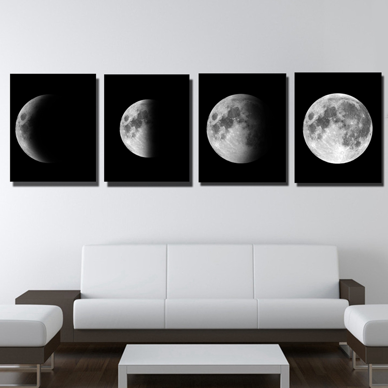 4Pcs/Set 50x60/40x50cm Moon Posters Lunar Eclipses Canvas Wall Art Painting Picture Stickers Home Decoration Home Art Styles