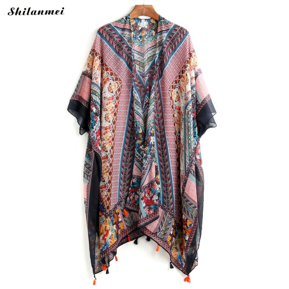 Кисточкой печатных геометрический Для женщин длинный кардиган jaqueta de couro богемный feminina Для женщин одноцветное пальто casacos куртка-бомбер пал... ...