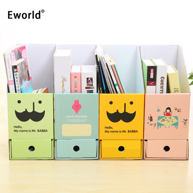Eworld DIY Paper Board Makeup Organizer Cute Cartoon Desk Decorations  Stationery Office Sundries Storage Box Creative