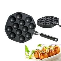 NEW ARRIVAL 12 Holes Takoyaki Octopus Grill Plate Tray Mold Pan Kitchen Baking Pan