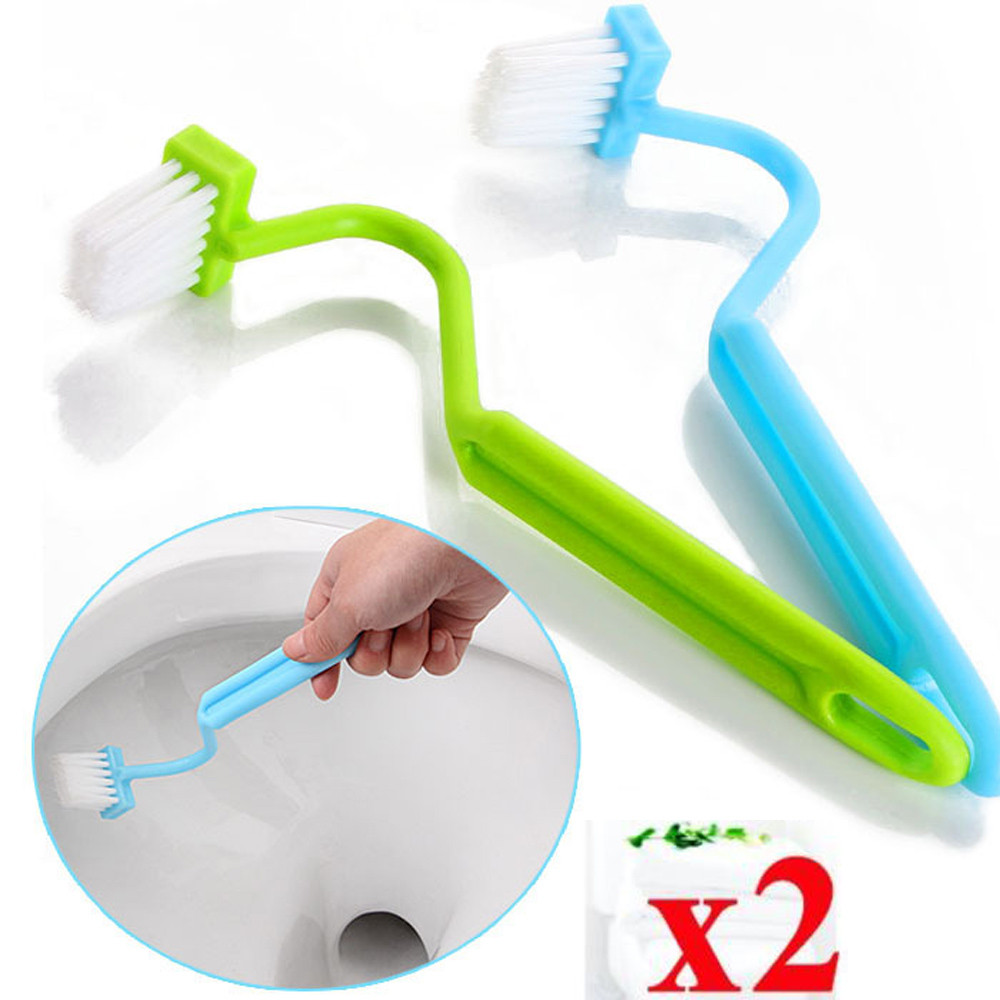 2pc toilet brush s shape family sanitary cleaning scrubber curved bent handle