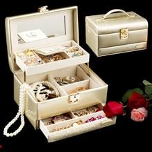 FEIXUN Lujoso cuero de LA PU caja de la joyería grande organizador Ataúd anillo pendientes collar de pantalla cajas de regalo cajas De Joyas de almacenamiento