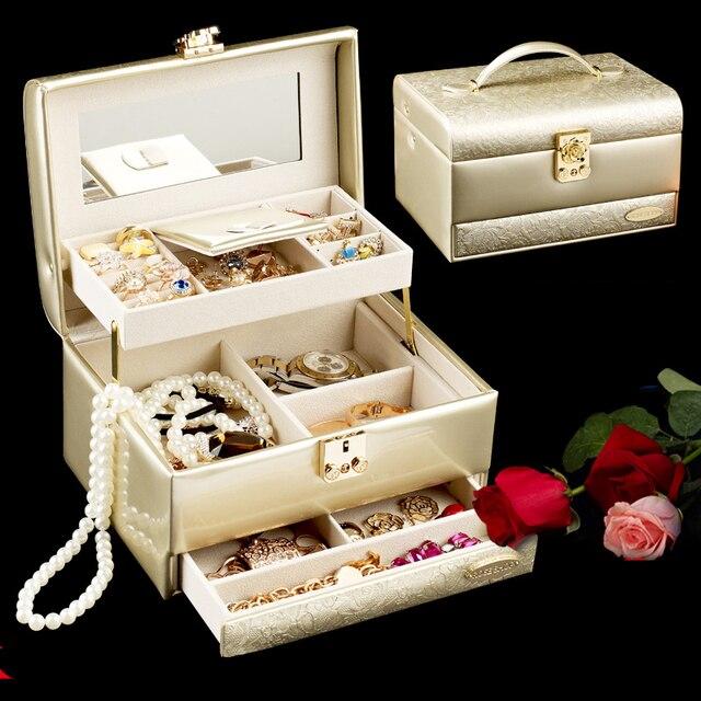 FEIXUN Luxurious PU leather large jewelry box organizer Casket