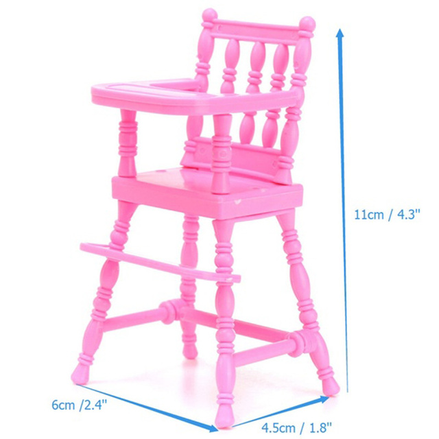 Baby Doll High Chairs Iron Throne Chair Cover S Pink Child Dining Toy Girls House Furniture Accessories
