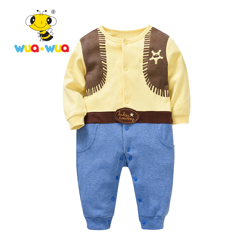 Baby Romper boy girl Clothing baby Clothes Newborn Cotton Cloth jumpsuit full Sleeve o-neck yellow and blue Wua wua AT17107 puseky 2017 infant romper baby boys girls jumpsuit newborn bebe clothing hooded toddler baby clothes cute panda romper costumes