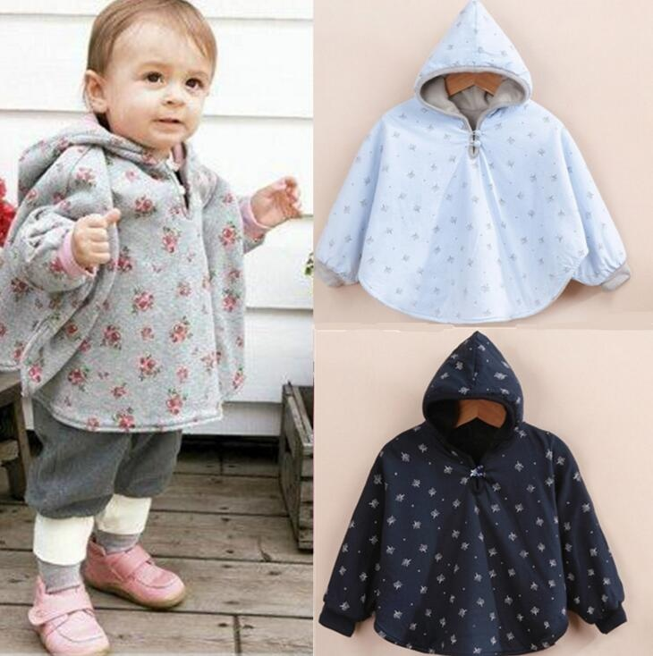 Baby Boy Girl Two-sided Cloak Poncho Cape Hoodie Coats Outwear Jacket Jumpers Clothes Winter Warm