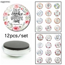 Bible Verse Fridge Magnet Scripture Inspirational Faith Quotes Glass Dome Refrigerator Magnetic Sticker Christian Gift 12PCS/LOT