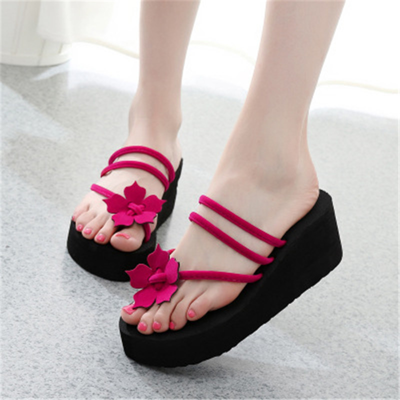 Platform Sandals Shoes Clip-Toe-Slippers High-Heel Stylish Flowers New Outer-Wear