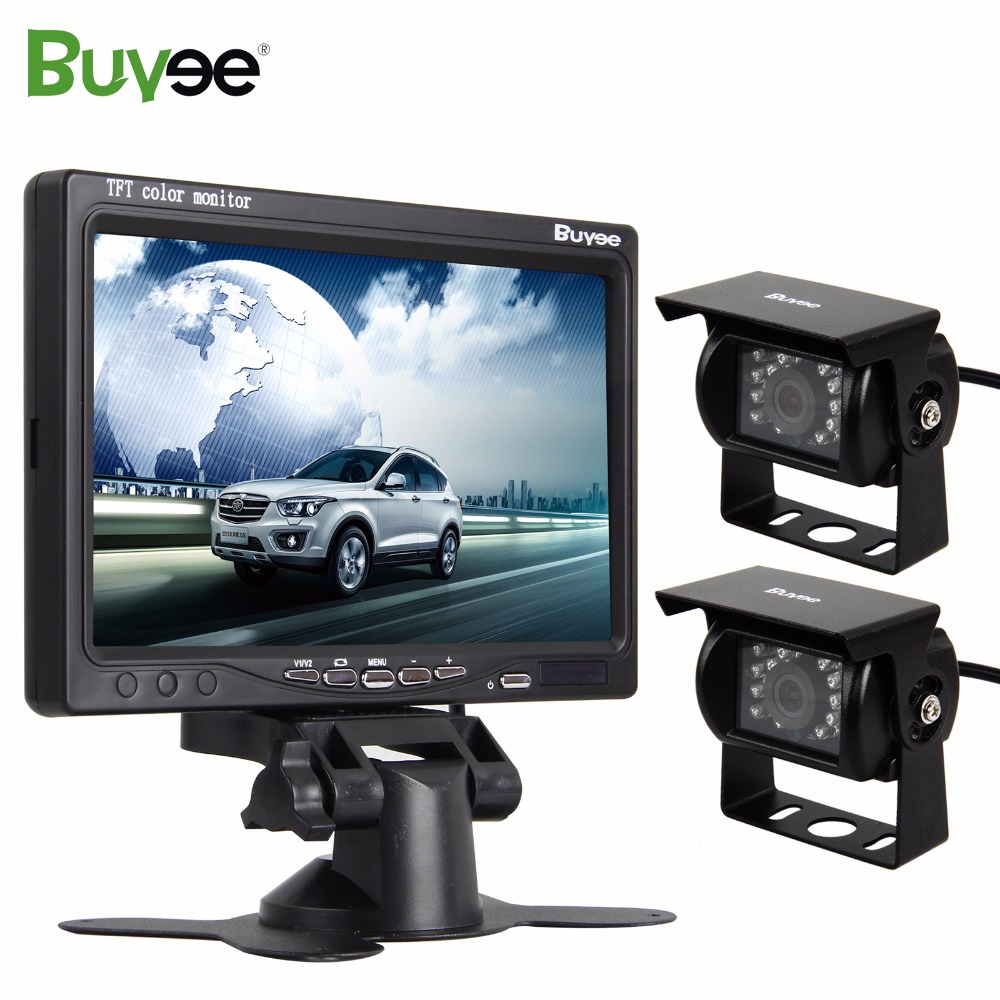 Buyee 2 X 18 LED Car Rear View Reverse Cameras + 7 inch TFT LCD Car Mirror Monitor Parking Camera kit for Truck car accessories