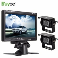 Buyee 2 X IR 18 LED Car Rear View Reverse Cameras 7 inch TFT LCD Car Mirror Monitor with Parking Camera for Truck RV Accessories
