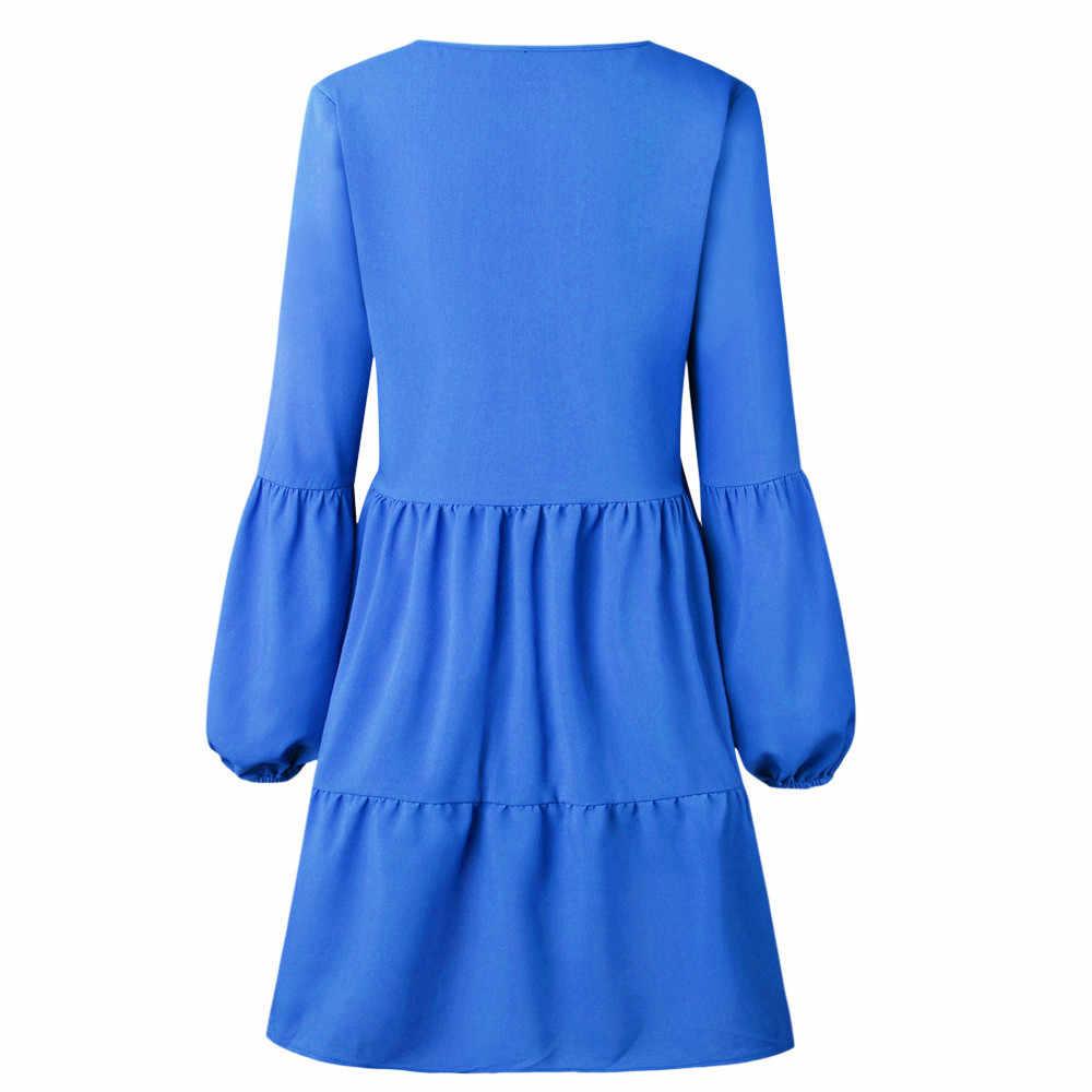韓国のファッションドレス女性ソリッドランタンパーティードレス夏のスタイル長袖ローブフェムセクシードレープ膝丈ドレス vestidos