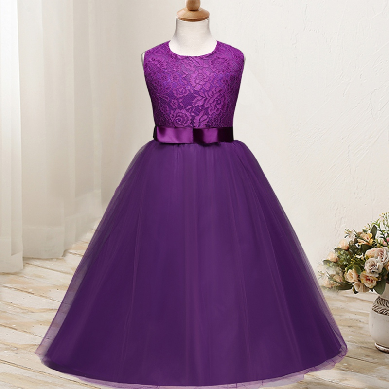 2018 New Baby   Girls   Wedding   Flower     Girl     Dress   Princess Party Pageant Formal long   Dress   Sleeveless Lace Tulle Vestido Infantil