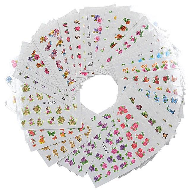 FWC 60 גיליונות פרח DIY מדבקות ציפורניים אמנות העברת מים הדפסת מדבקות מניקור סלון