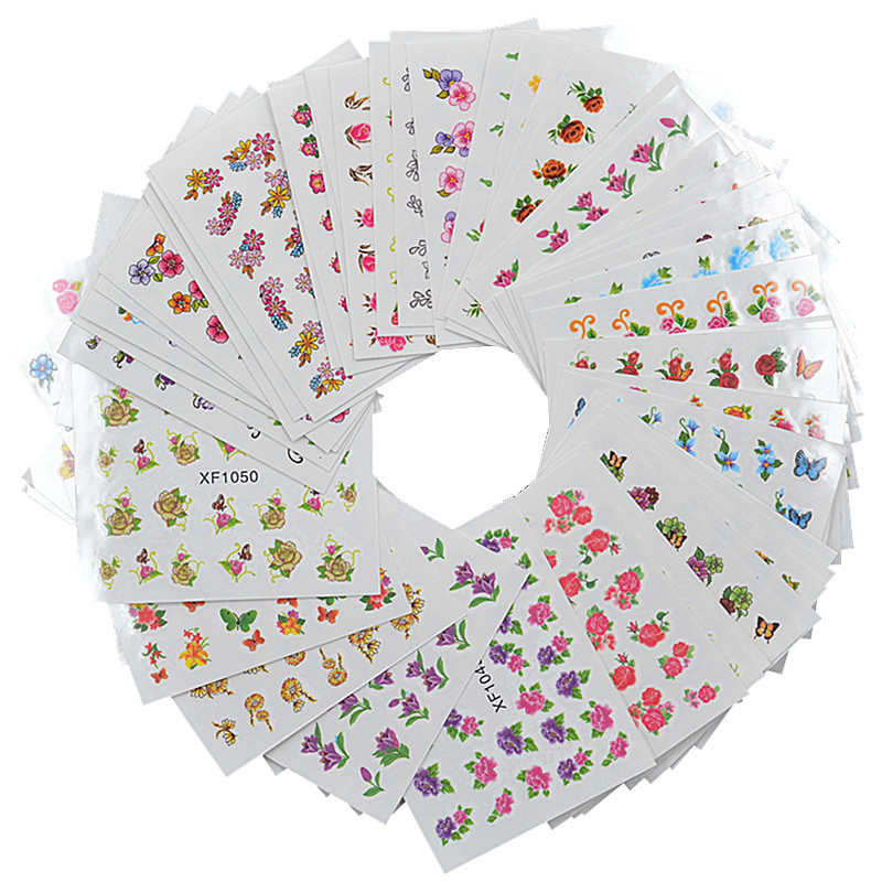 FWC 60 Sheets Flower DIY Decals Nails Art Water Transfer Printing Stickers For Manicure Salon