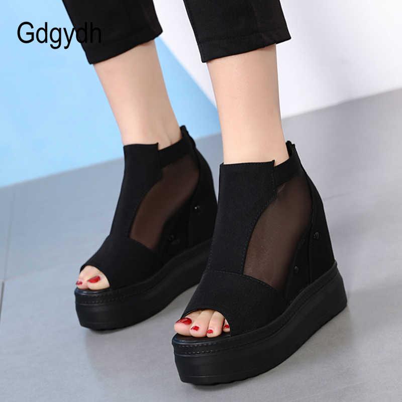 Gdgydh Örgü Burnu açık Yaz Ayakkabı Kadın Platformu Kama Topuk Süet yarım çizmeler Kadın Avrupa Punk Ayakkabı Promosyon Satış 2019 Yeni