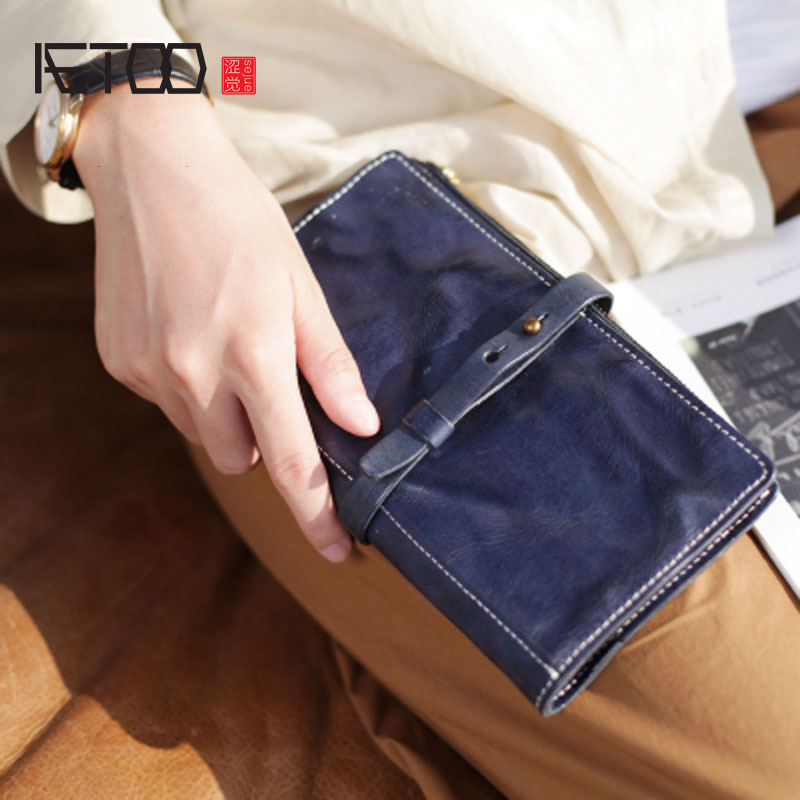 AETOO Vintage Designer Genuine Vegetable Tanned Leather Lady Card Purse String Cover Womens Clutch Wallet Reteo Female Long AETOO Vintage Designer Genuine Vegetable Tanned Leather Lady Card Purse String Cover Womens Clutch Wallet Reteo Female Long
