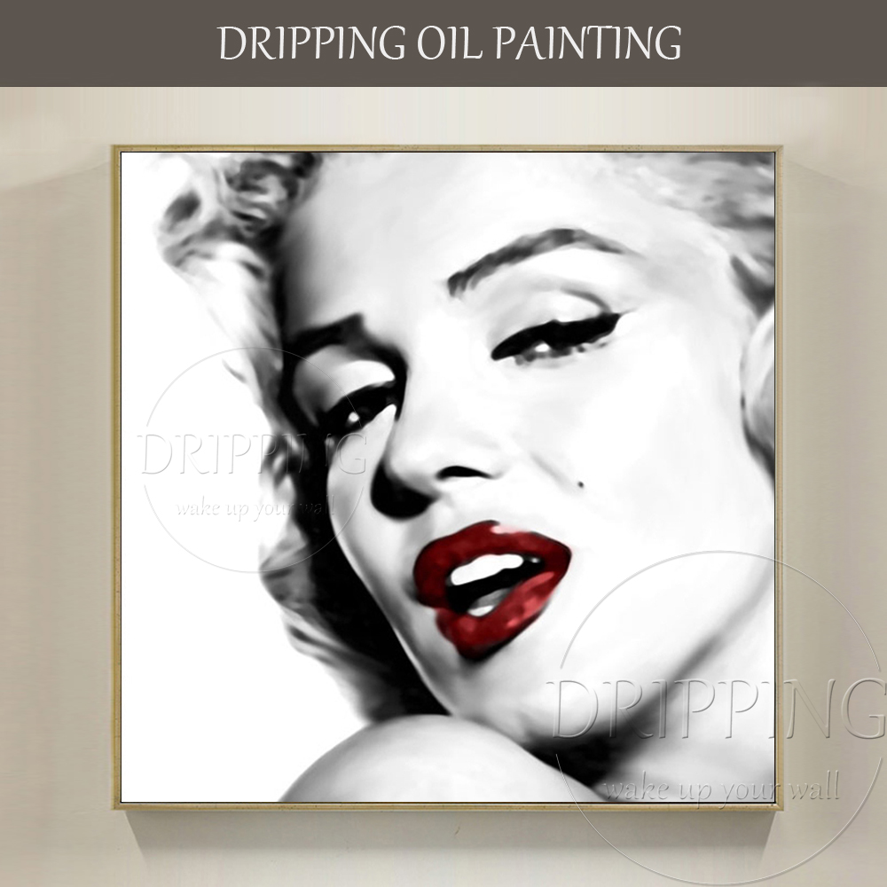 Artist Hand-painted the Most Popular Super Star Marilyn Monroe Oil Painting on Canvas Famous Woman
