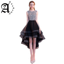 цена на 2019 Hot Sale Lace-Up Formal Party Dresses Women Gown Sexy Scoop Neck High Low Short Evening Dresses with Beading Appliques