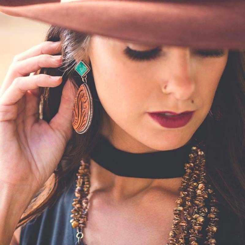 Этнические коричневые серьги в форме капли воды для женщин, вечерние ювелирные изделия, Изысканные кожаные висячие серьги с цветочным узором Z3M027