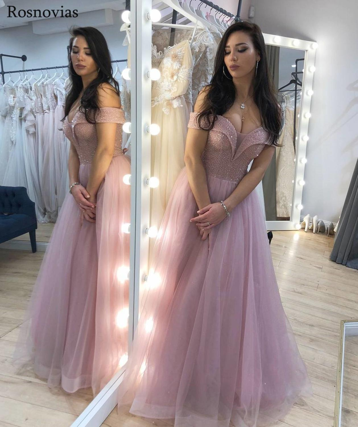 Off Shoulder Prom Dresses Long Zipper Back Sweep Train Beaded A Line Evening Party Dresses Formal Gowns Prom Dresses 2019 Custom