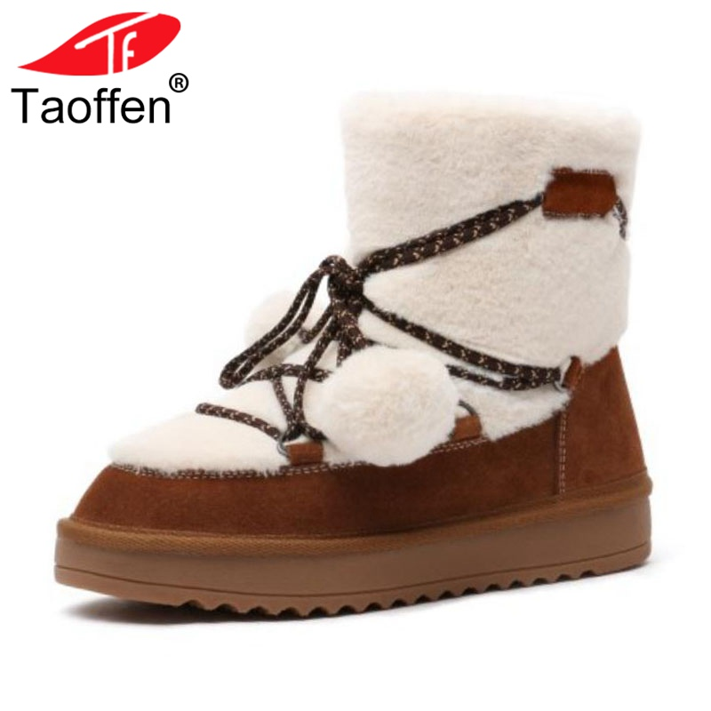 TAOFFEN Women Winter Ankle Boots Genuine Leather Warm Plush Fur Shoes Women Cross Tied Bowknot Flats Snow Boots Size 34-41 faux fur knitted bowknot snow boots