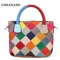 New  100% Genuine Leather Patchwork Bag Cowhide Bucket Bag Women Shoulder Bag Colorful Handbags K580