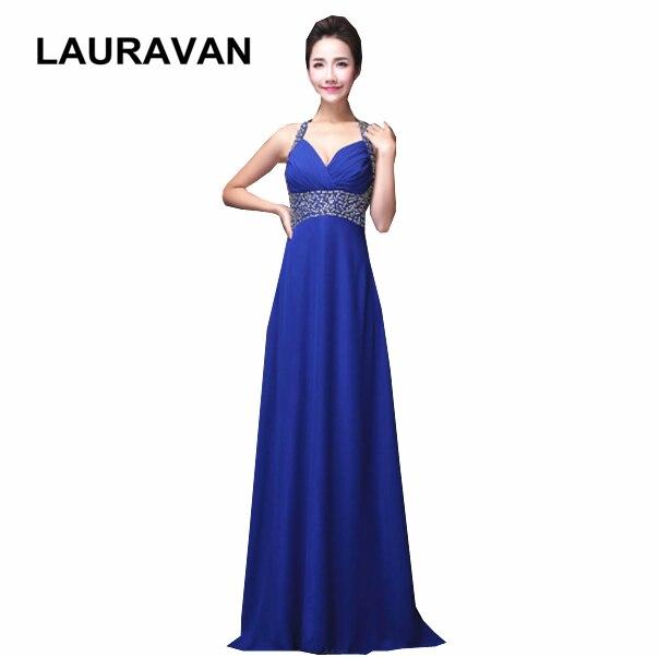 Korean Formal Plus Size Dress Women Elegant Long Halter Blue Red