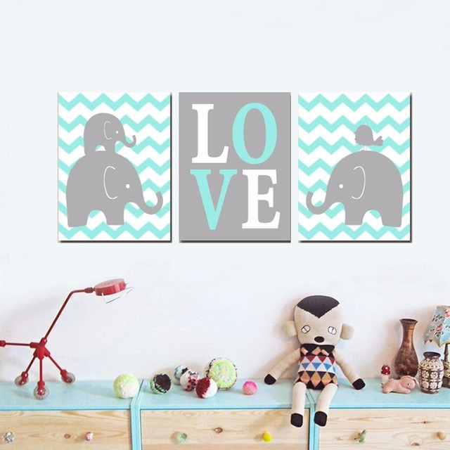 Boy ELEPHANT Nursery Wall Art Artwork Posters and Prints Oil ...