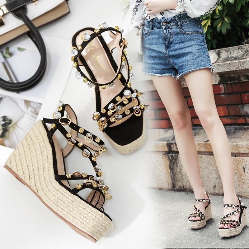 Schwarzes Neue Koreanische Perle Spitze Heel Offene rosa High Sandalen Strass Sandalen Sommer Wasserdichte Plattform 7qwX70d