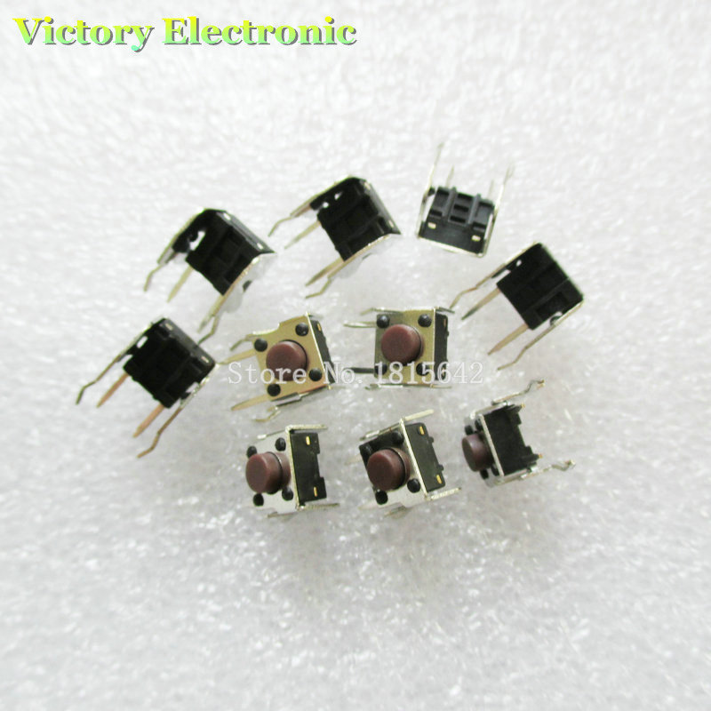 New 50PCS/Lot 6*6*5mm Tactile Push Button Switch Momentary Tact 6x6x5mm DIP Through-Hole 4pin Horizontal Wholesale Electronic
