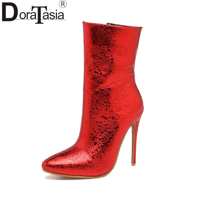 DoraTasia 2017 Plus Size 33-48 Pointed Toe Women Shoes Woman Sexy Thin High Heels Zip Up Wedding Boots Winter Red Black