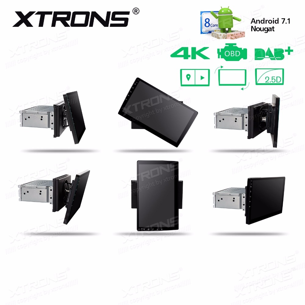 XTRONS 10.1 Android 7.1 Octa Core Radio 32GB Rotatable Face Panel 2.5D Curved Screen Car Stereo Player GPS OBD DVR 2 DIN No DVD