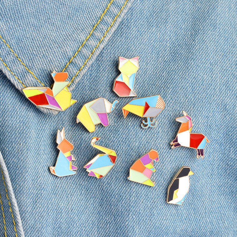 Fashion Origami Crane Rabbit Penguin Elephant Cat Goose <font><b>Whale</b></font> Horse Brooches Colorful Splicing Animal Enamel Pins Badges Jewelry image
