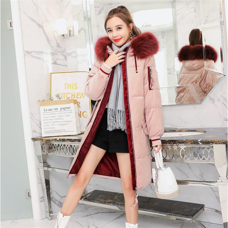 Women Long Coat Down Fur Hooded Winter Cotton Slim Collar g7Yb6fy